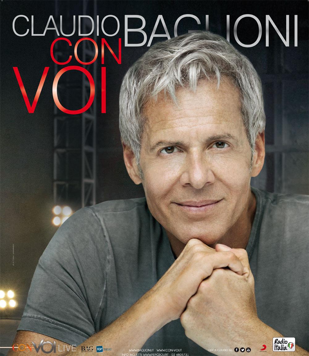 """AL VIA IL """"CON VOI LIVE TOUR"""" DI CLAUDIO BAGLIONI ATTESO IL 15 MARZO AL PALASELE"""