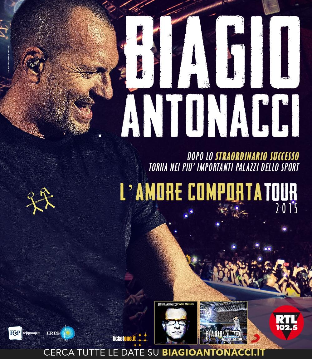 """BIAGIO ANTONACCI RIPARTE DA EBOLI CON  """"L'AMORE COMPORTA TOUR"""" 2015"""