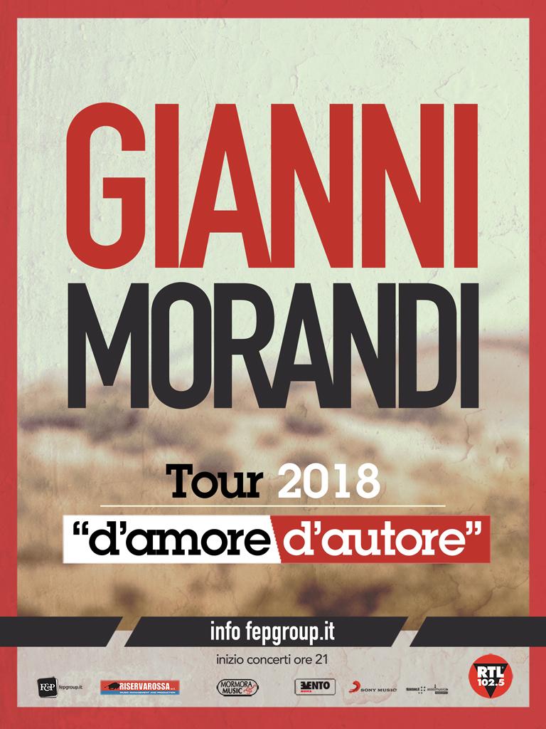 """CON """"D'AMORE D'AUTORE"""" GIANNI MORANDI IL 12 MARZO 2018 IN CONCERTO AL PALASELE, UNICA DATA IN CAMPANIA"""