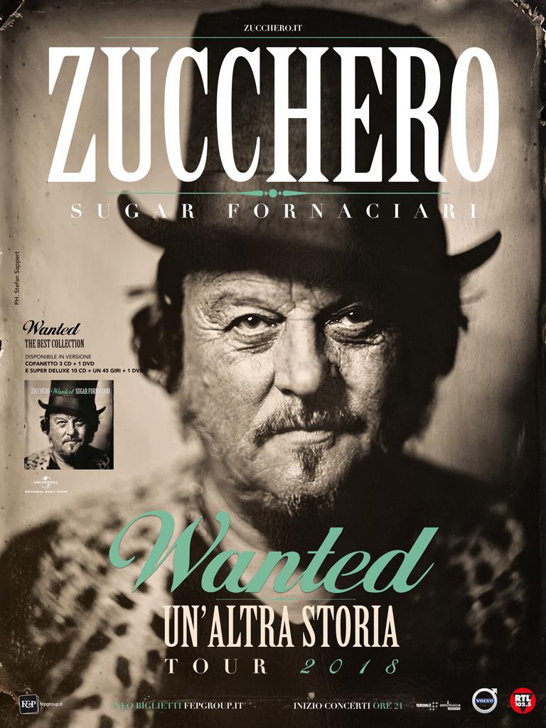 """ZUCCHERO TORNA LIVE IN ITALIA CON """"WANTED - UN'ALTRA STORIA"""", TAPPA AL PALASELE DI EBOLI L'8 MARZO 2018"""