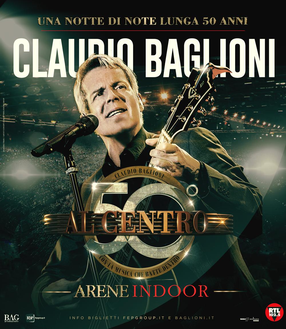 """50 ANNI DI MUSICA DI CLAUDIO BAGLIONI """"AL CENTRO"""" DEL PALASELE IL 10 NOVEMBRE 2018"""