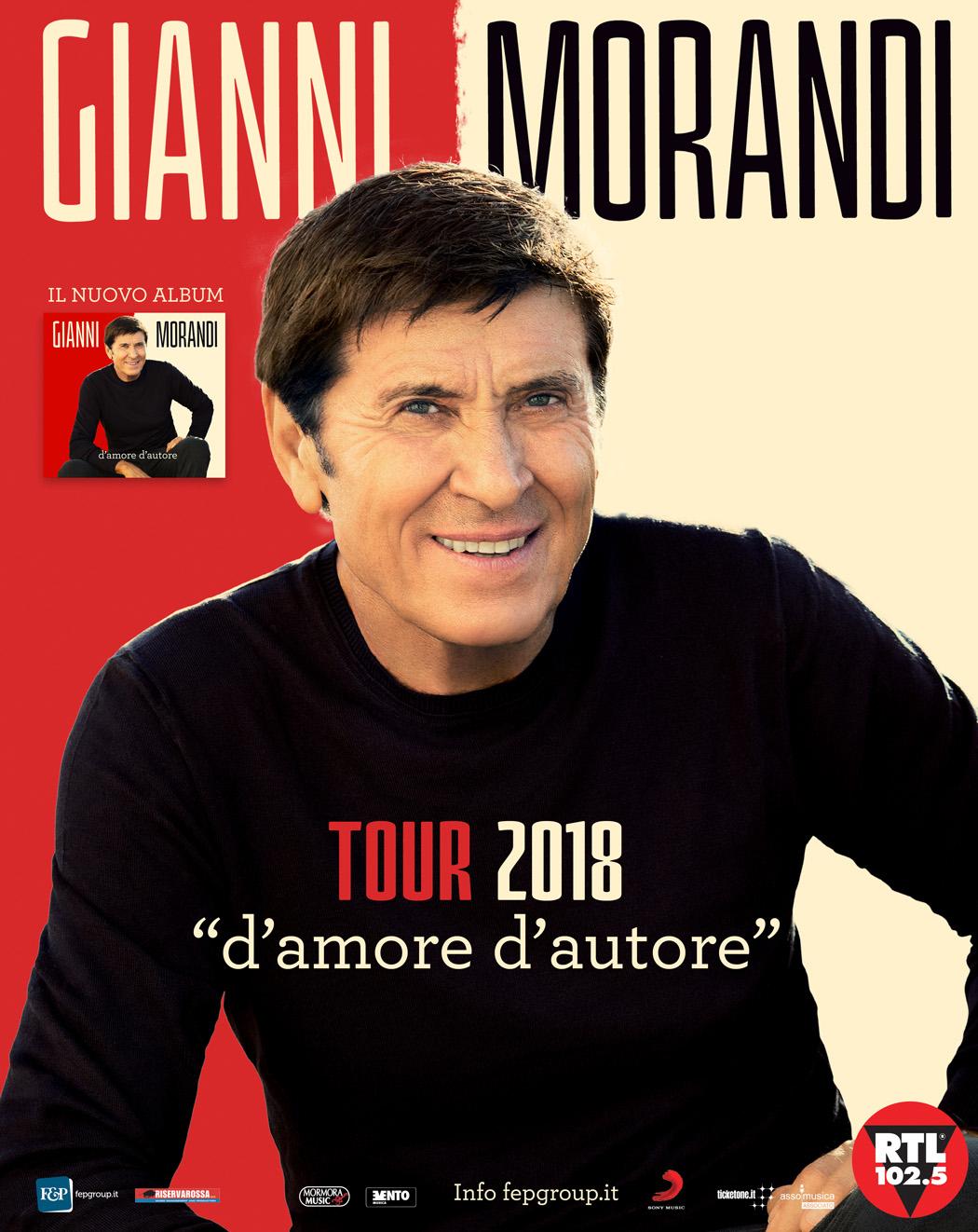 """GIANNI MORANDI PRONTO A CONQUISTARE IL PALASELE, LUNEDÌ 12 MARZO LA TAPPA DEL SUO TOUR 2018 """"D'AMORE D'AUTORE"""""""