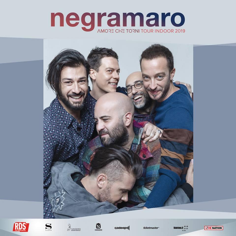 """NEGRAMARO, SOLD OUT AL PALASELE DI EBOLI LUNEDÌ 11 MARZO CON """"AMORE CHE TORNI TOUR INDOOR 2019"""""""