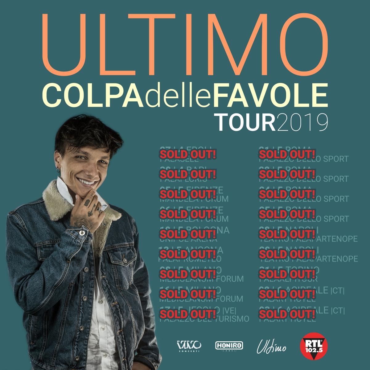 """PARTE DOMANI DAL PALASELE DI EBOLI IL """"COLPA DELLE FAVOLE"""" TOUR DI ULTIMO, SOLD OUT DA MESI"""