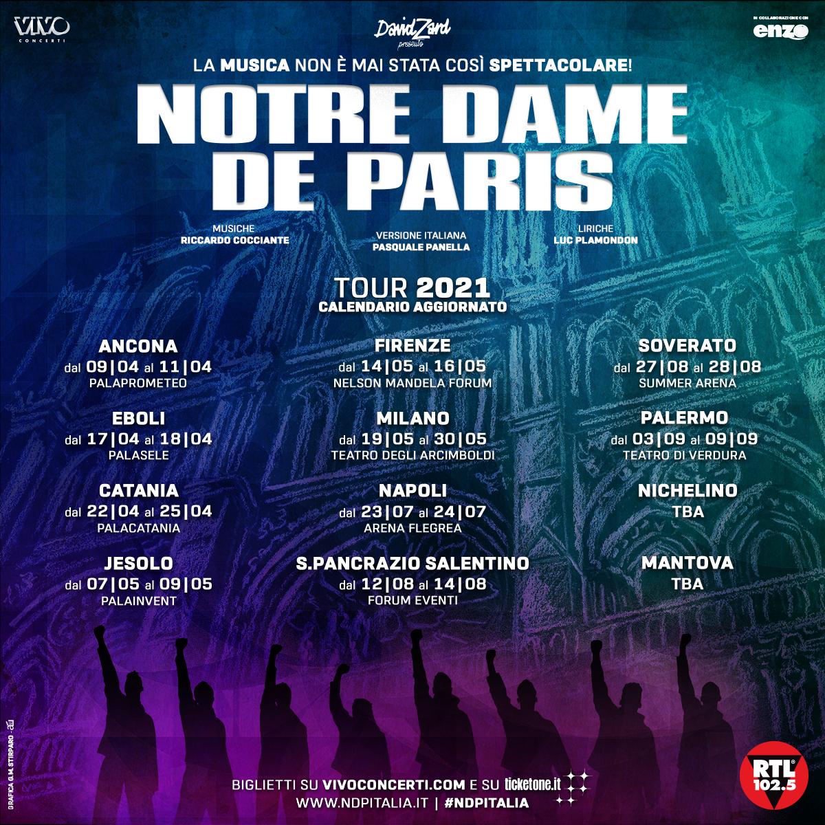 POSTICIPATA L'INTERA TOURNÉE DI NOTRE DAME DE PARIS, DATE AGGIORNATE AL PALASELE DI EBOLI: 17 E 18 APRILE 2021