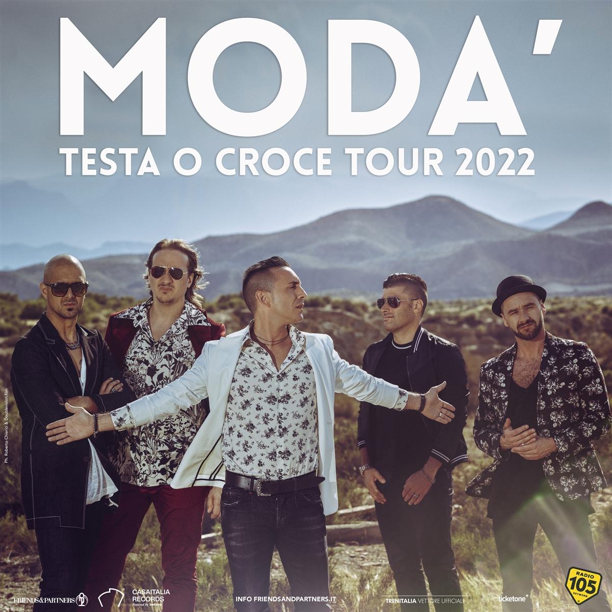 """MODÀ, RINVIATO AL 2022 IL """"TESTA O CROCE TOUR"""""""
